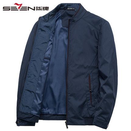 Seven7 Áo khoác nam thương hiệu Qi mùa xuân mặc trung niên nam kinh doanh bình thường đứng cổ áo kho
