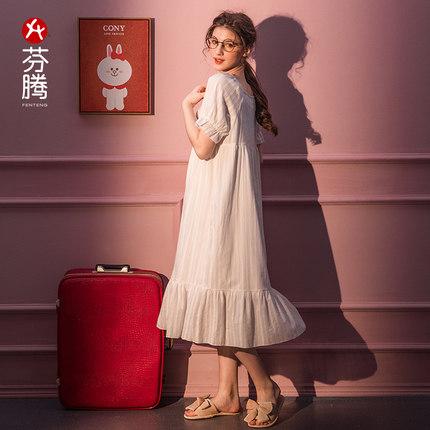 Fenteng Đồ ngủ nightdress nữ mùa hè công chúa cotton phong cách cung điện có thể được mặc bên ngoài