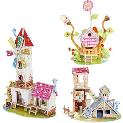 Tranh xếp hình 3D Trẻ em 3D câu đố ba chiều chất lượng giấy đồ chơi giáo dục tự làm xây dựng cabin m
