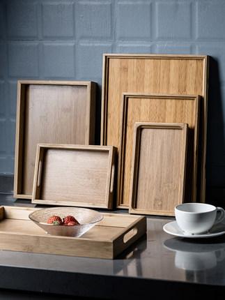 khay trà hình chữ nhật bằng gỗ Phong cách Nhật Bản .