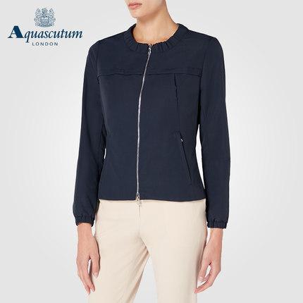 Aquascutum áo thun / Yage Shidan Lady Mặc áo khoác ngắn màu đỏ kẻ sọc tròn cổ thu đông
