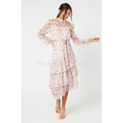 Mink Pink Thời trang nữÁo choàng lông màu hồng chồn đứng cổ áo hoa sen tay áo trung thu dài 20 mùa h