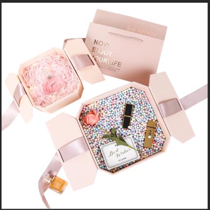 Hộp quà tặng  Son môi nước hoa hộp quà tặng cô gái trái tim kèn tinh tế stream hành tinh sinh nhật h