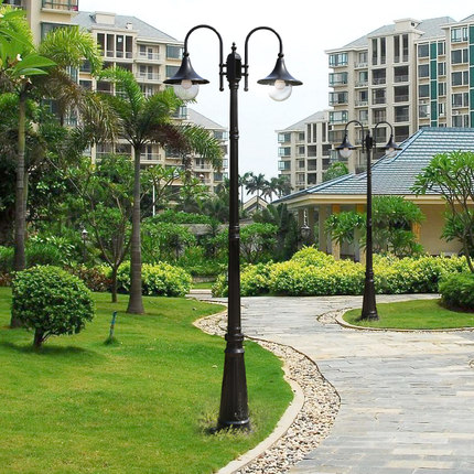 Shuangxin Đèn LED chiếu sáng công cộng  Đèn sân vườn phong cách châu Âu đôi đầu cực cao đèn đơn cỏ đ