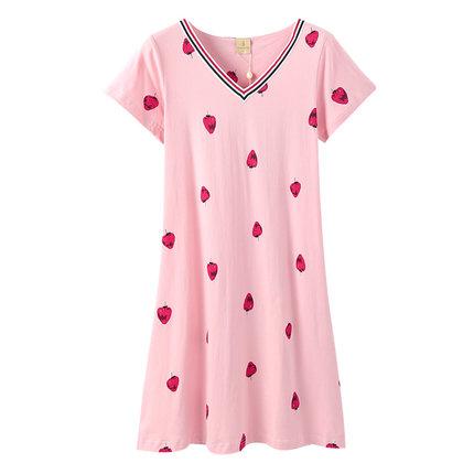 Fenteng Đồ ngủ cotton mới váy ngủ nữ mùa hè tay ngắn tay V-cổ dễ thương ngọt ngào váy ngắn váy dâu d