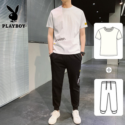 Playboy Đồ Suits  hè mới nam ngắn tay áo thun giản dị chạy bộ phù hợp nam thủy triều thương hiệu hai