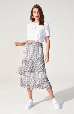 MINKPINK Thời trang nữ 2020 xuân hè mới kẻ sọc Úc giản dị chất liệu voan nửa váy liền thân màu áo th