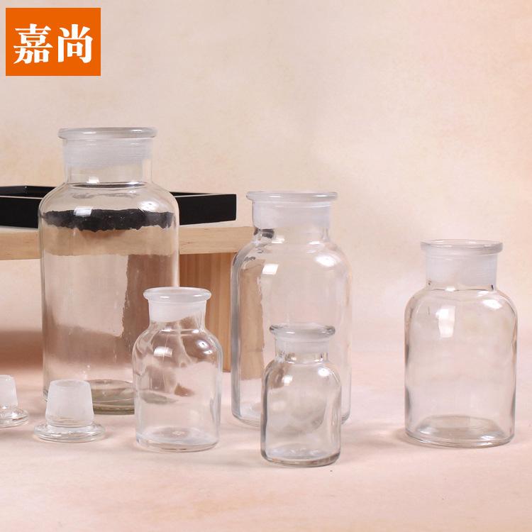 JIASHANG Ống nghiệm Kết hợp chai thuốc thử hóa học, chai rượu thủy tinh không chì, dụng cụ thí nghiệ