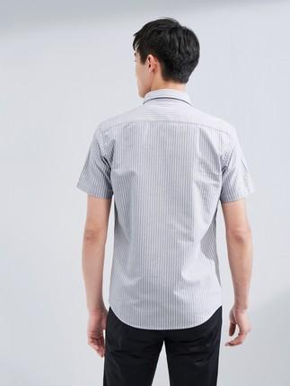 Hailan Áo Sơmi  HLA / Hailan House Washed Cotton Short Áo sơ mi 2020 Mùa hè Mới Áo sơ mi sọc ngắn g