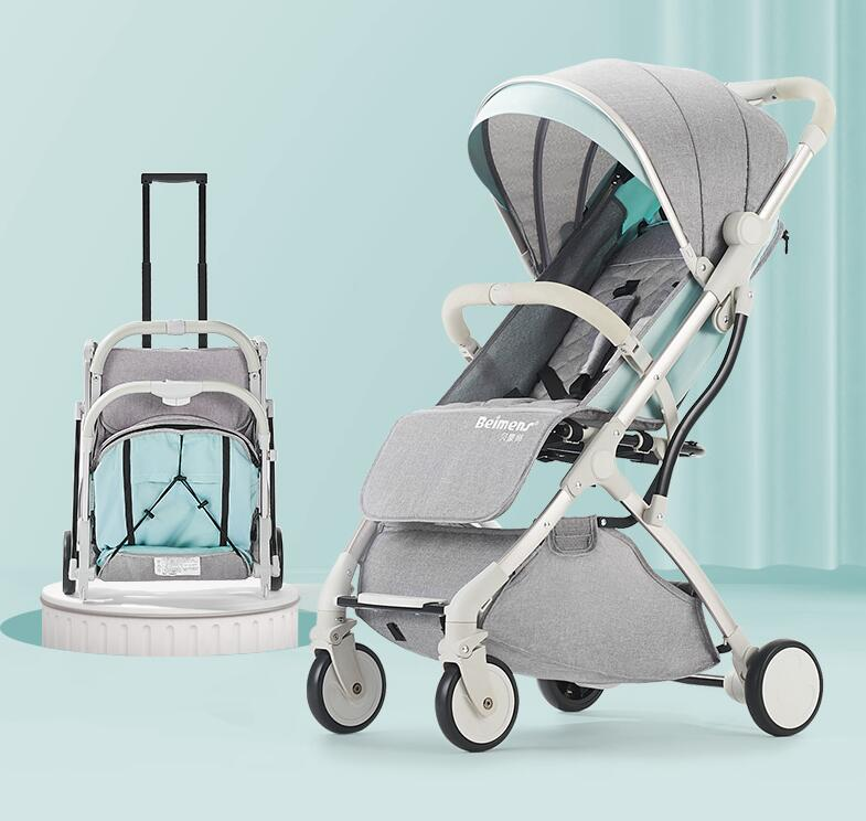 Xe đẩy em bé Belmont có thể ngồi ngả siêu nhẹ di động gấp ô cho bé ô tô bốn bánh xe đẩy trẻ em