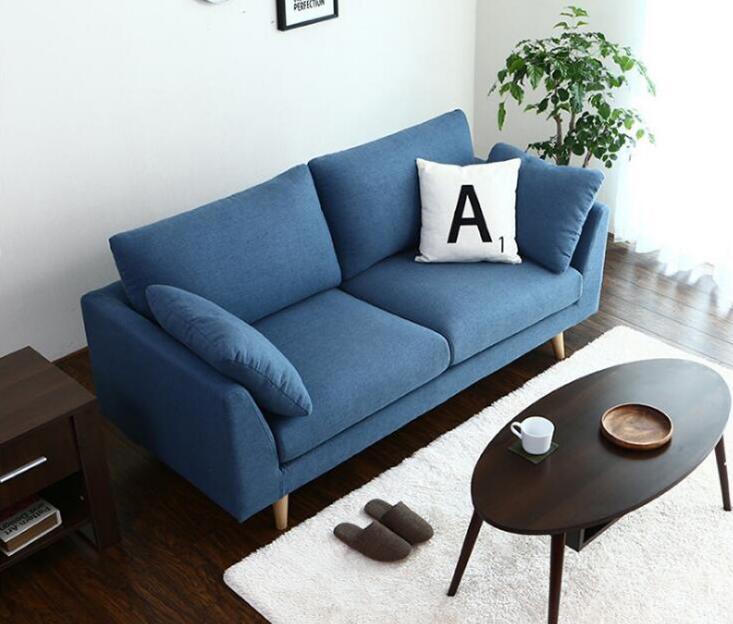 Sofa Bắc Âu phòng khách phòng ngủ nghiên cứu cửa hàng trà sữa đôi ba vải hiện đại đơn giản Nhật Bản