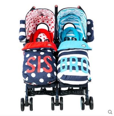 Cosatto Xe đẩy trẻ em sinh đôi xe đẩy trẻ em giảm xóc bánh xe phổ biến đôi song sinh có thể ngồi phẳ