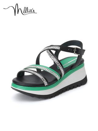 Millie's giày bánh mì / giày Platform / Miao Li 2020 mùa hè thời trang đai mỏng rhinestone giản dị