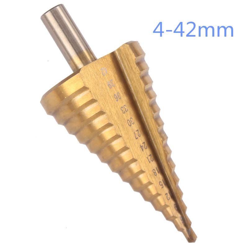 Đầu khoan Nhà máy trực tiếp xử lý tam giác bước khoan bước khoan chùa khoan lỗ thép tấm 4-42mm