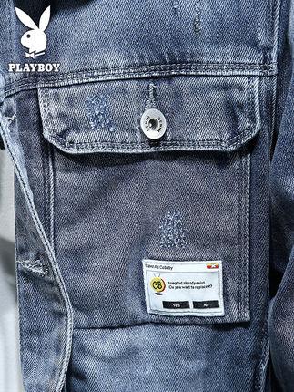Playboy  Áo khoác nam Playboy denim thương hiệu nam triều châu Âu và hè hè phần mỏng Phiên bản Hàn Q