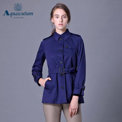 Aquascutum áo thun / Yage Shidan Lady Áo gió cổ điển Áo khoác đơn ngực ngắn