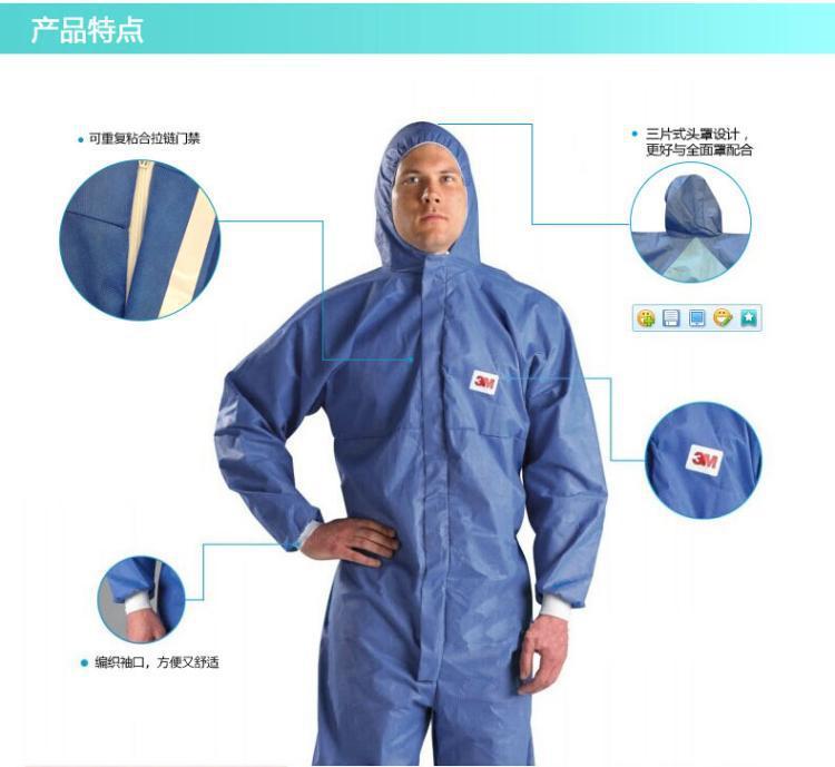 Bộ đồ bảo vệ mảnh màu xanh, mũ bảo vệ phản xạ, đồ bảo vệ hóa học, lớp vỏ phun, áo chống bụi