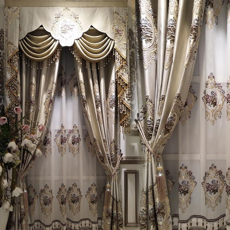 JINSHANG Vải rèm cửa Nhà máy trực tiếp phong cách châu Âu rèm vải chính xác cao cứu trợ rèm vải cao