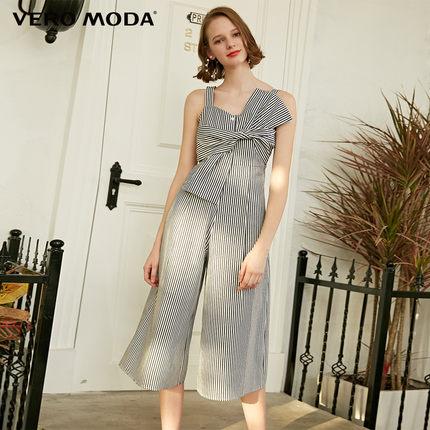 Vero Moda Thời trang nữ mùa hè mới sọc bên dây kéo phía trước thắt nút chân rộng jumpsuit phụ nữ