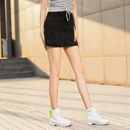 Jeanswest váy Quần jean nữ 2020 mùa xuân mới giản dị 11 an toàn cotton denim thoải mái denim nửa váy