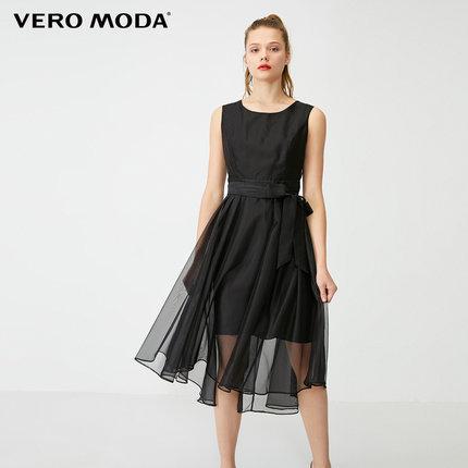 Vero Moda Thời trang nữ 2020 xuân hè mới trang trí thắt lưng váy không tay cổ tích váy