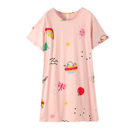 Fenteng Đồ ngủ  mùa hè đồ ngủ phụ nữ váy ngủ mùa hè tinh khiết cotton mỏng tay ngắn mới nhà quần áo