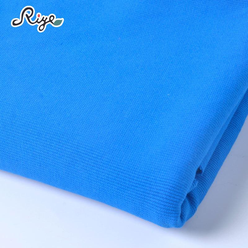 Vải Rib bo 95% cotton 5% spandex rắn màu vải sườn bán chải thường mặc đồ thể thao mặc nhà đồ ngủ vải