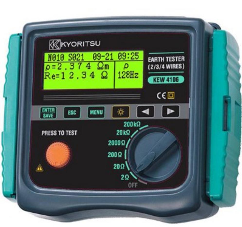 KYORITSU Máy móc / Kretz Kyoritsu KEW 4106 Dữ liệu thử nghiệm điện trở mặt đất thông minh