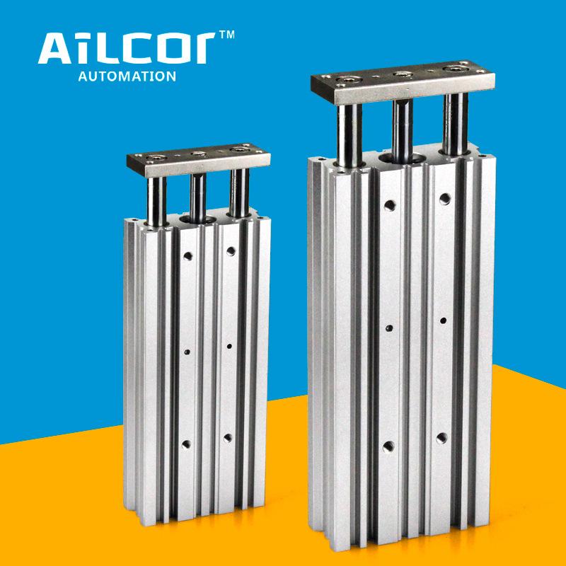 Ailcor Ống xilanh Xy lanh ba trục 12/40/50/63 đường kính xy lanh tiêu chuẩn MGPM ba thành phần khí n