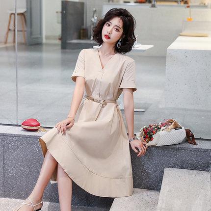 Goldfarm Thời trang nữ Gao Fan Women Spring 2020 Mới V-cổ Váy lớn A-line Váy nữ Ren-up Eo Tính khí V
