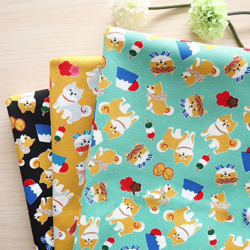Vải Chiffon & Printing Vải cotton dày Đài Loan Nhật Bản dễ thương Shiba Inu in vải thủ công DIY miện