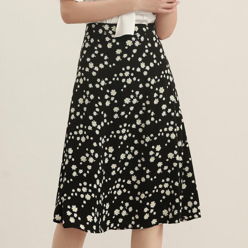 BAIMEI Thời trang Mùa hè 2020 mới cửa hàng phụ nữ váy a-line nữ voan hoa hoang dã eo cao váy hoa nhỏ