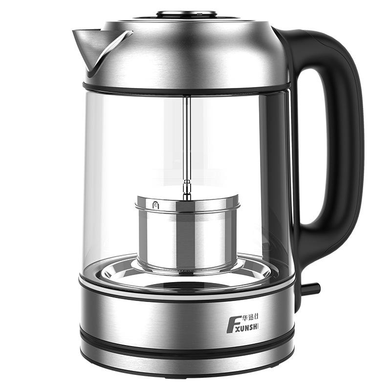 FXUNSHI Nồi lẩu điện, đa năng, bếp và vỉ nướng Ấm đun nước thủy tinh borosilicate cao 1.7L Đèn LED ấ