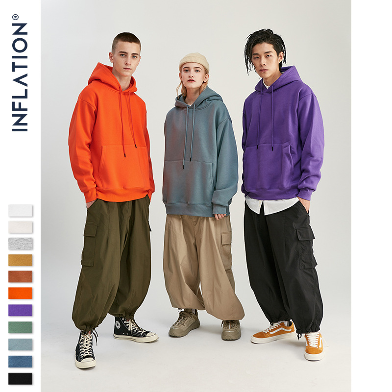 inflation Sweater (Áo nỉ chui đầu) Quần áo nam INF | dày 350g · mùa thu đông đẩy màu đặc cộng với nh