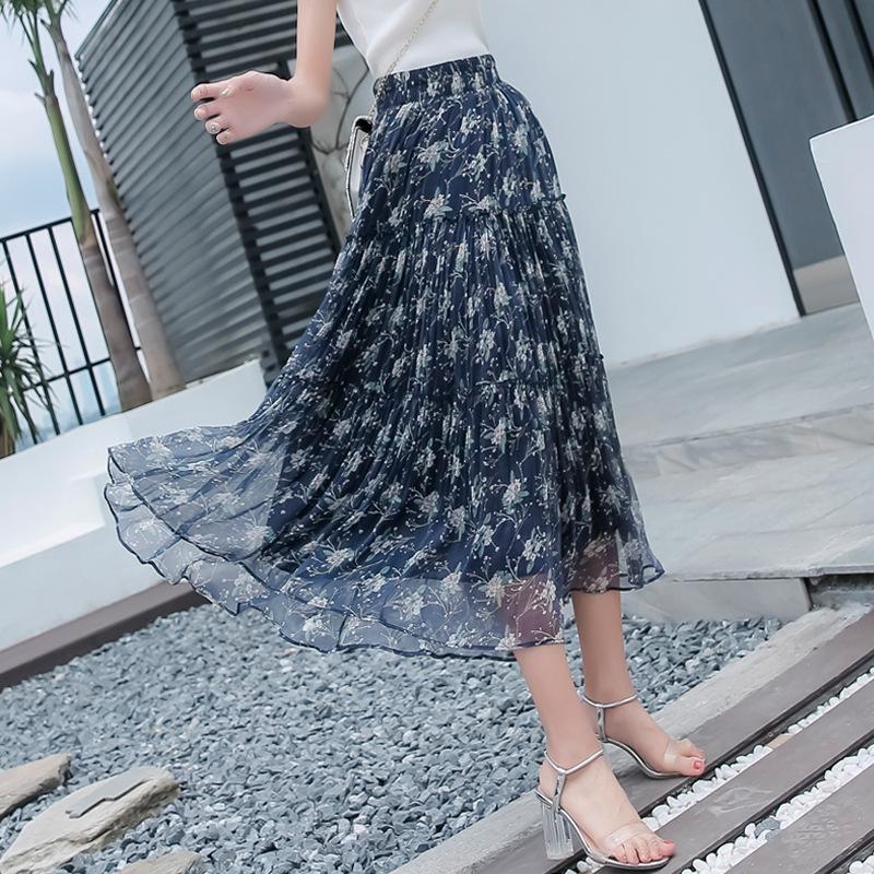 QIAOYUNI váy Real shot spot voan 2020 hè mới in eo cao xếp li là váy mỏng và che hông dài