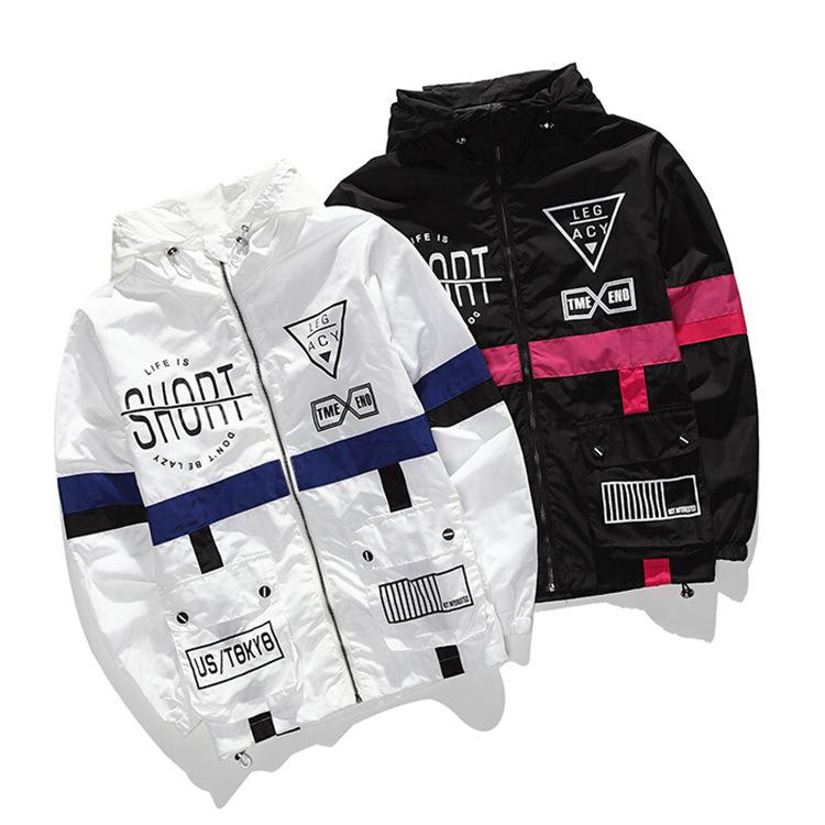 Áo khoác Cặp đôi áo khoác trùm đầu nam và nữ hip hop áo gió gió áo khoác dây kéo cá tính phần mỏng m