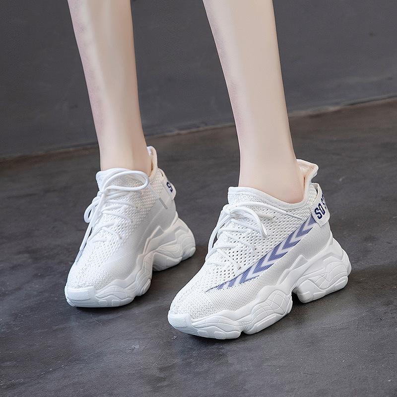 YENUOHUI giày bánh mì / giày Platform 2020 dày đáy tăng trong vòng 8 cm của giày thể thao mùa hè dệt