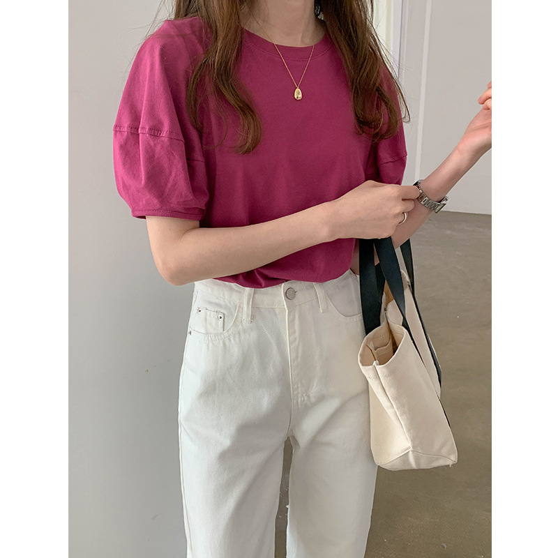 THXGIVING Áo thun cotton cổ tròn đơn giản TG nữ mùa hè 2020 mới ngọt ngào giảm tuổi màu rắn tay áo b