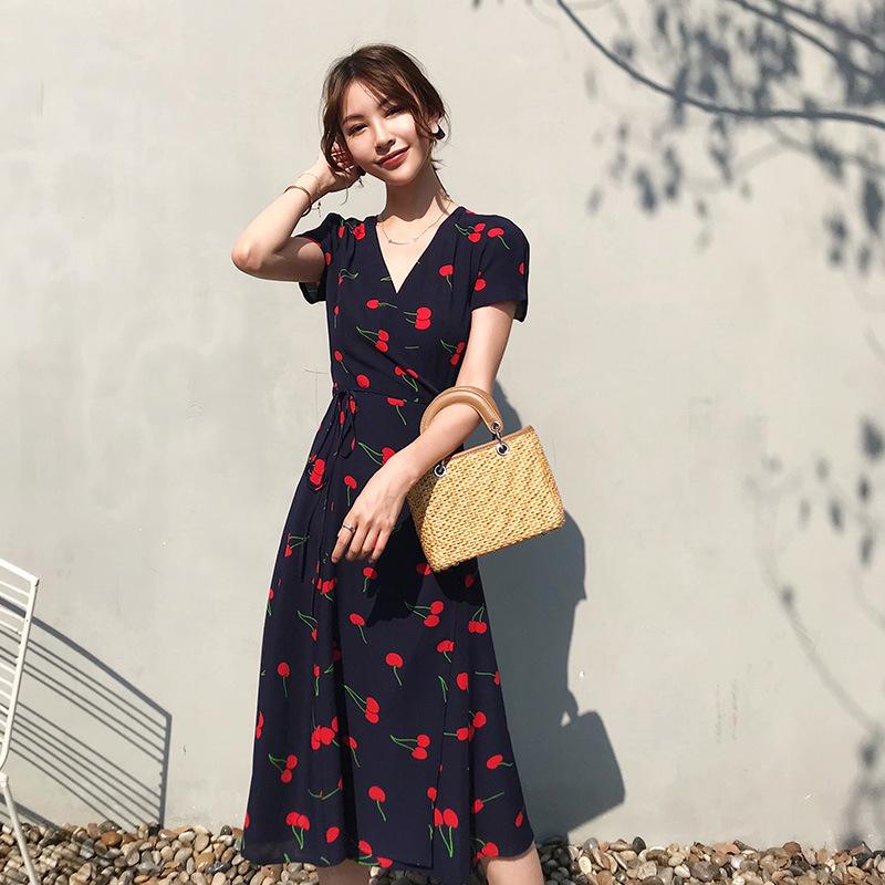 CJMY Đầm Váy Pháp mùa hè 2020 nữ mới in hoa quấn váy V-cổ ren thắt lưng voan thế hệ váy dài