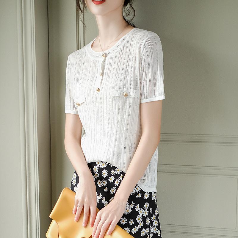 YINSU Thời trang Tay áo ngắn rỗng màu đơn giản mùa hè quần áo của phụ nữ mỏng Phiên bản Hàn Quốc của