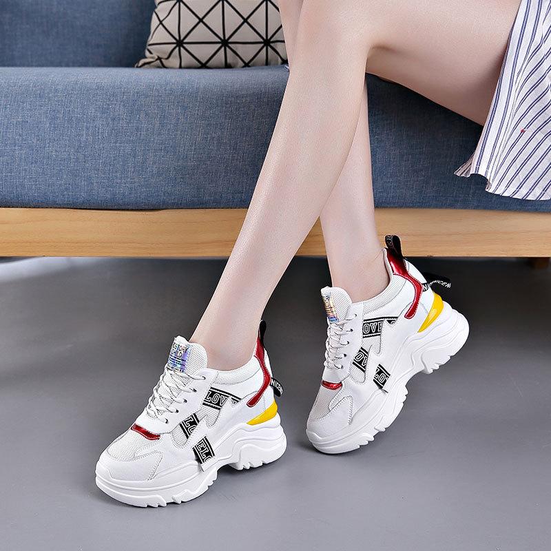 GDXM giày bánh mì / giày Platform Giày da bố mùa xuân 2020 Giày nữ mùa xuân mới màu đỏ siêu lửa thể