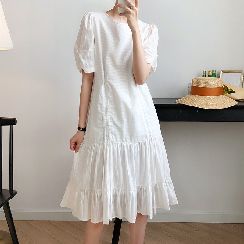 Luxi Đầm váy trắng nữ dài 2020 mùa hè mới dây rút siêu cổ tích khí chất váy dài Pháp 8910