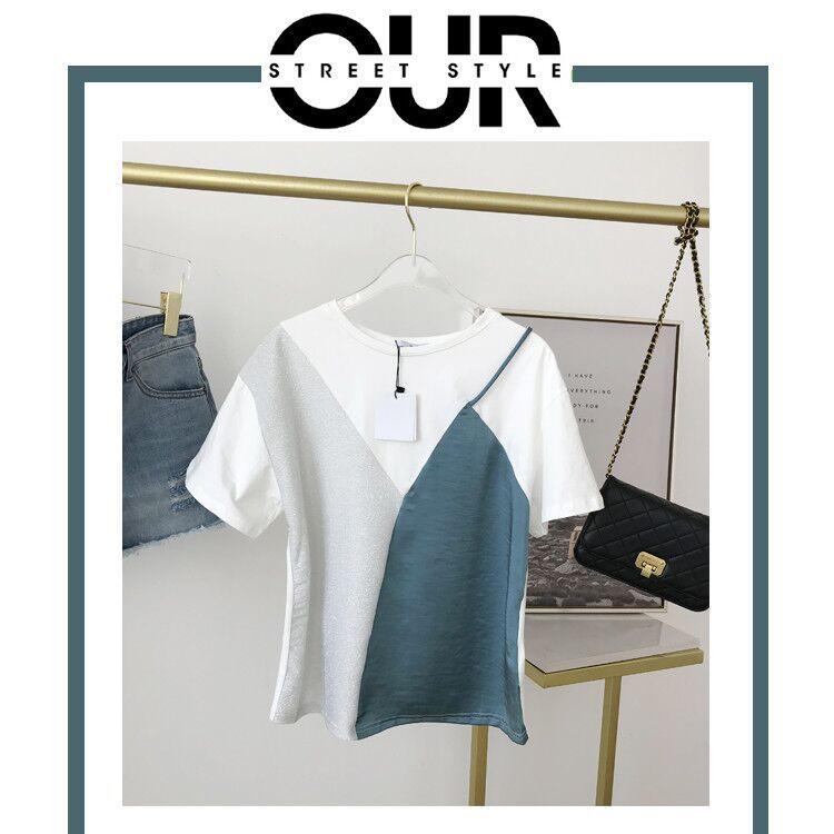 hàng trào lưu mới Phụ nữ mùa hè khí chất mới phong cách OL khâu trắng giả hai chiếc áo thun ngắn tay