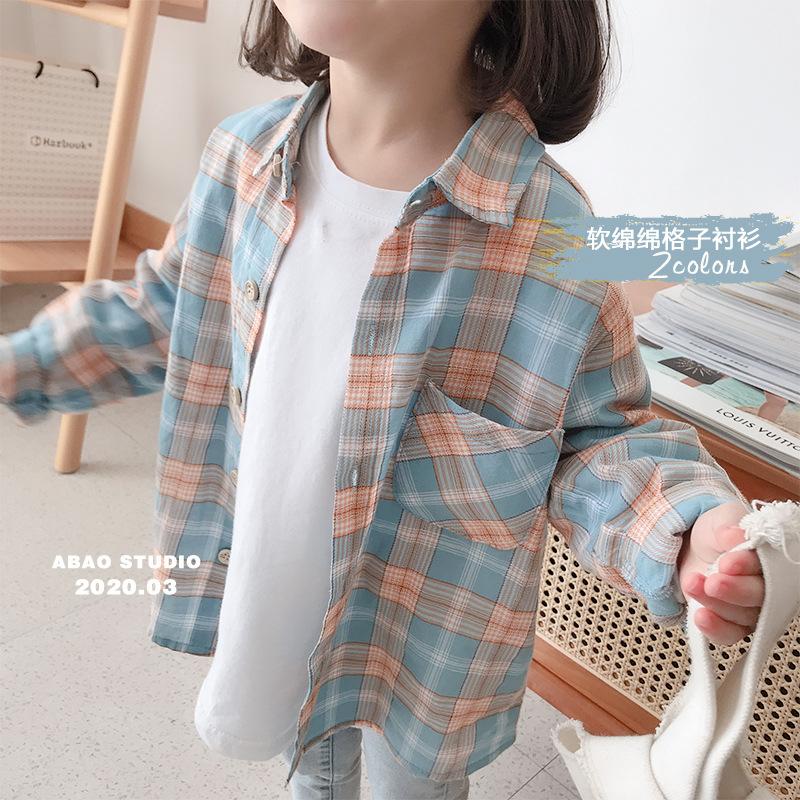 XIAOMATONG Áo Sơ-mi trẻ em Áo sơ mi kẻ sọc xuân hè mới phiên bản Hàn Quốc áo cotton dài tay cho bé s