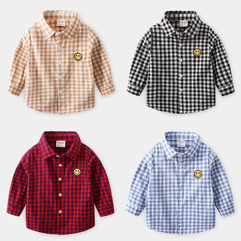 WELLKIDS Phong cách Hàn Quốc Mùa xuân 2020 quần áo trẻ em bán buôn trẻ em kẻ sọc tay dài và áo sơ mi