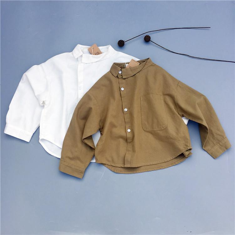 XIAOTONGQIAN Áo Sơ-mi trẻ em Áo sơ mi cotton và vải lanh trẻ em 2020 mùa xuân phiên bản mới của Hàn