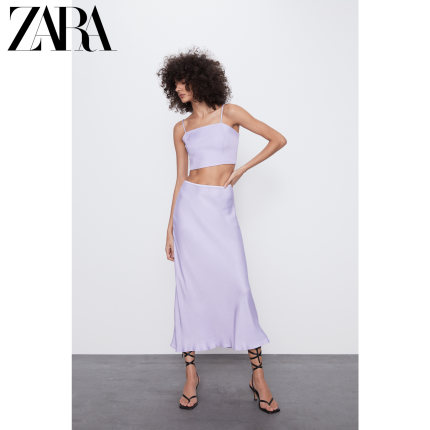 ZARA váy  mới TRF váy lụa satin nữ 07385352629