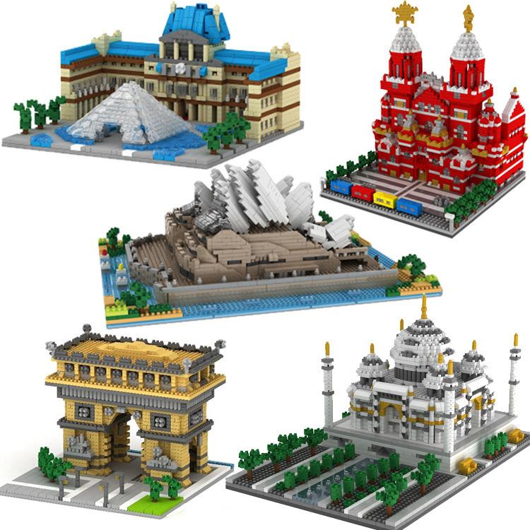 YZ Bộ đồ chơi rút gỗ Weili hạt nhỏ xây dựng khối chính tòa lâu đài đồ chơi Tháp Paris tòa nhà sáng t