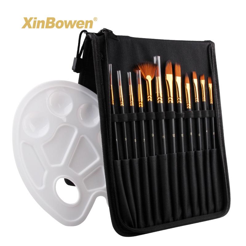 Xin Bowen Đồ mỹ nghệ Xin Bowen Fine Art Brush Bag + Palette 13 Piece Set Màu nước Acrylic Brush Brus