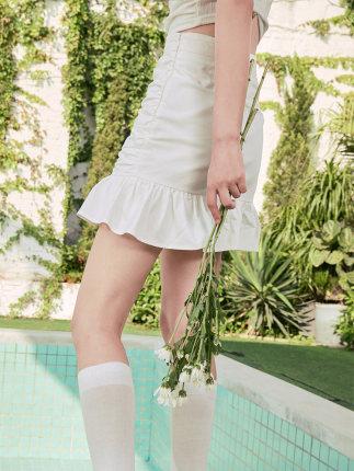 Xiyu váy  váy đuôi cá váy nữ pleat 2020 hè mới khí chất eo cao a-line váy thiết kế ý nghĩa thích hợp